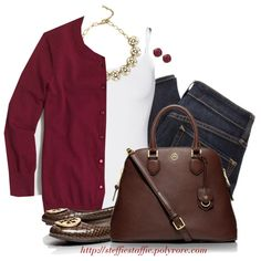 Deep red cardigan, jeans & statement necklace by steffiestaffie on Polyvore featuring J.Crew, Splendid, MARC BY MARC JACOBS, Tory Burch, Sole Society and Lucky Brand