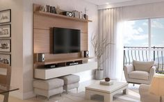 Manhattan Comfort City Floating Wall Theater Entertainment Center Maple Cream / Off White, TV Stands - Manhattan Comfort, Minimal & Modern - 1 Floating Entertainment Center, Entertainment Centers, Tv Panel, Tv Wall Decor, Wall Tv, Muebles Living, Tv Unit Design, Floating Wall, Floating Shelves