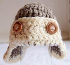 Baby Hat Aviator  Newborn Hats Brown White Photo by PEHappy, $24.00