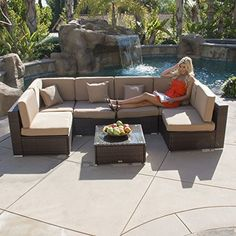 Take your outdoor living experience to the next level with the Belleze PatioCollection set. With seating for up to 6 people this handsome ensemble provides the ideal setting for reading entertaini...