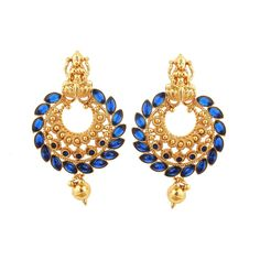 Gold Plated Blue Stone Jhumkas