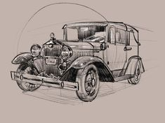 Here is a visual breakdown that relates to my sketching classes at Artcenter. One of many subjects we observe and study~ Classic Car Garage, Classic Car Show, Ford Classic Cars, Car Drawings, Drawing Sketches, American Classic Cars, Car Illustration, Car Sketch, Urban Sketching