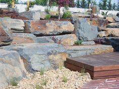 Transrock specializes in natural stone and rockwork to produce beautiful landscape features inspired by the splendour of Australia. You can find the quality of our work reflecting in some of the fines Australian Native Garden, Beautiful Landscapes, Slate, Natural Stones, Landscape Design, Walls, Patio, Outdoor Decor, Nature