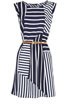 Stripe Belted Tunic Dress