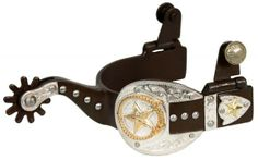 Showman™ ladie's size antique brown silver buckle tip and keeper spurs with gold star and lasso accent via Moonstruck Creek. Click on the image to see more!
