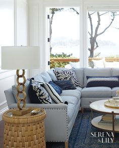 Shop our Living Room Collections at Serena and Lily. Complete the look you want in your living space. Coastal Living Rooms, Home Living Room, Living Room Decor, Blue And White Living Room, Blue Rooms, White Decor, Dining Room Design, Living Room Furniture, Family Room