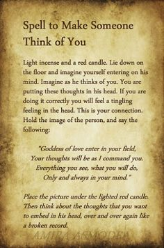 White Magic To Make Someone Think Of You | Ritual Magic Spells Wicca Love Spell, Love Spell Chant, Wiccan Spell Book, Love Spell That Work, Magic Spell Book, Spells That Actually Work, Love Spell Candle, Witchcraft Love Spells, Witchcraft Spells For Beginners