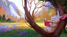 The Reading Bunny, Gosia Arska on ArtStation at https://www.artstation.com/artwork/lYRGY
