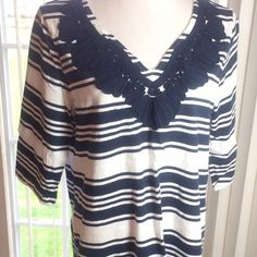 Top Blue and white striped top! Sleeves are 3/4 length!  Scroll work stitching around neckline.  Worn once. (PB2) Tommy Hilfiger Tops Tees - Short Sleeve