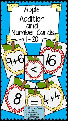 Apple Addition and Number Cards for Memory Games, Adding, Matching, and Comparing