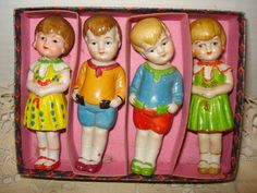 Vintage Bisque Nodder Doll SET OF 4 in by PastPossessionsOnly, $64.95
