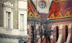 Zsolnay tiles on a rainy winter day. Szilágyi Dezső tér, Calvinist Church, . Budapest, Buda, Víziváros (Water Town).