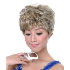 Capless Short Synthetic Light Blonde Curly Hair Wig *free ship