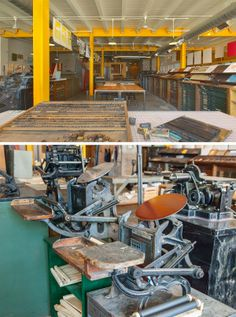 Industrial workspace of Signal Returns, a Michigan-based community printshop. Letterpress Machine, Letterpress Printing, Industrial Workspace, Printing Process, Printmaking, Detroit, Michigan, Studios, Shops