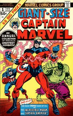Giant-Size Captain Marvel cover by Ron Wilson & Frank Giacoia. Marvel Comics, Marvel Comic Books, Marvel Characters, Comic Books Art, Marvel Avengers, Comic Art, Book Art, Ms Marvel, Book Characters