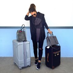 "Shop my travel look from your inbox with @liketoknow.it: www.liketk.it/2acGv - this scarf is 40% off and comes personalized in different colors! Just landed in the Big ! Here is a quick photo from the LBC before I hopped on a with @mystylediaries! Channeling my inner @KellyCutrone in all black. No makeup/dirty hair travel and I'm just fine with it... where's that ""I did my best"" sweatshirt when you need it #amIright? Now excuse me so I can dig out my Alaskan winter coat before I step…"