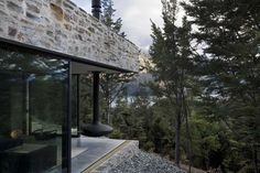 Mountain Retreat Heavily Rendered Stone by Fearon Hay Architects | DigsDigs