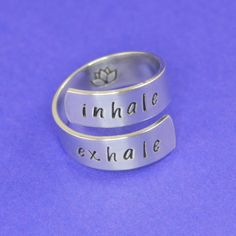 Yoga Wrap Ring - Inhale Exhale Ring with Lotus by SilverStatements on Etsy https://www.etsy.com/listing/236334561/yoga-wrap-ring-inhale-exhale-ring-with