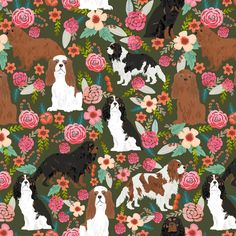 Best cavalier king charles print for trendy decor and home textiles. Cavalier King Charles owners will love this trendy dogs and vintage florals fabric. King Charles Spaniel, Cavalier King Charles, Cavaliers Wallpaper, Animals And Pets, Cute Animals, Cute Quilts, Dog Items, Spaniel Dog, My Little Baby