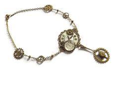 """VENDU Collier ras-de-cou steampunk engrenage et cadran de montre, """"Le collier de l'horlogère"""""""