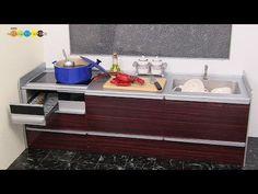 DIY Dollhouse items - Miniature Built In Kitchen ミニチュアシステムキッチン作り - YouTube