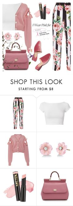 """I wear pink for ..."" by jan31 ❤ liked on Polyvore featuring Dolce&Gabbana, Helmut Lang, Adeam, Irene Neuwirth, L.A. Girl, florals, floralprint, breastcancerawareness, slides and IwearPink"