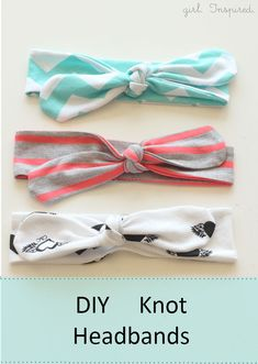 Tutorial for easy DIY knot headbands. Cute, simple look. I might want to make a couple of these for myself.  :)  There's also a quick tutorial mear the bottom of the post about making one of these out of a non-stretchy fabric, sewing part of headband to be more elastic-like.