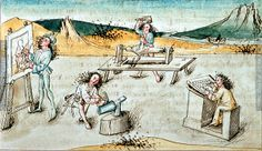 •The Children of Mercury, Biblia Pauperum (ÖNB 3085, fol. 25r), 1475