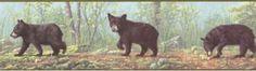 Cubs Wallpaper, Black Bear Cub, Wallpaper Borders, Bear Cubs, Border Design, Brown, Nursery, Animals, Decor