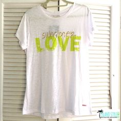 Summer Love TShirt Summer Love TShirt. White with green and gold. New with tags. 65% polyester and 35% viscon. Feels ultra soft. Peace Love World Tops Tees - Short Sleeve
