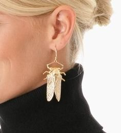 14kt Gold plated Goldbug Drop earrings with leverback closure. Made in the USA.  Goldbug measures 2 inches long.   Care Information: These bugs can't swim!