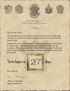 Printable Hogwarts Acceptance Letters Harry Potter Party