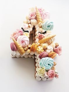 Penelope turns 4 Teddy Bear Birthday Cake, Number Birthday Cakes, Number Cakes, Cool Birthday Cakes, Birthday Cake Girls, Unicorn Macaroon, Unicorn Cupcakes, Pretty Cakes, Beautiful Cakes
