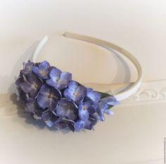 Купить Ободок для волос Синяя гортензия из полимерной глины - васильковый, синий, голубой, ободок для волос