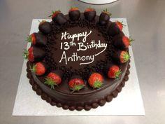 Chocolate truffle with strawberries