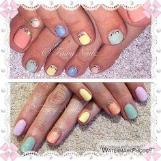 Fairy Nailz: #CNDShellac pastels with Swarovski crystals