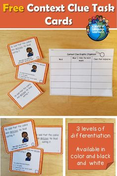 Free context clue task cards. Simple sentences that give clues to the meaning of a focus word. With and without pictures. In color and black and white. Great practice for ELL learners. #contextclues #taskcards #esol #esl #vocabulary #free #tpt #teacherspayteachers #teachersfollowteachers