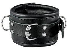Extra breites 8cm Bondage Erotik BDSM Leder Halsband gepolstert Halsfessel schwarz