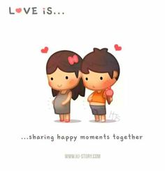 Quotes About Love For Him : QUOTATION - Image : As the quote says - Description HJ-Story :: Love is… sharing happy moments together! Hj Story, Love Cartoon Couple, Cute Love Cartoons, Cute Cartoon, Cute Love Stories, Love Story, Fitness Video, Story Instagram, Happy Together