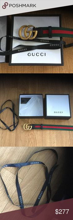 "Gucci Men GG Metal Buckle Leather Belt Ribbon Box+ This nice belt was used just once. Like brand new to the touch. Size 36,37,38,39,40"". Comes with original gift box which is crushed a little bit on top. It was a birthday present and I don't really wear this. Gucci Accessories Belts"