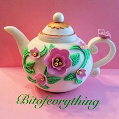 Beautiful Fondant Teapot, made for a 90th birthday