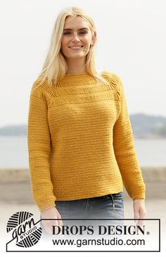Sunny Trails - Crocheted jumper with raglan in DROPS Lima. The piece is worked top down with stripes in texture with quintuple-treble crochets. Sizes S - XXXL. - Free pattern by DROPS Design Pull Crochet, Crochet Jumper, Free Crochet, Knit Crochet, Knit Cowl, Crochet Granny, Hand Crochet, Knitting Patterns Free, Free Knitting
