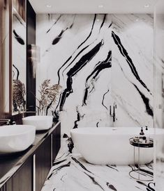 marble wall for luxury bathroom ; large bath, giant marble black and white marble wall for luxury bathroom ; large bath, giant marble black and white Dream Bathrooms, Beautiful Bathrooms, Luxury Bathrooms, Master Bathrooms, Marble Bathrooms, Master Baths, Luxury Hotel Bathroom, Luxury Bathtub, Marble Showers