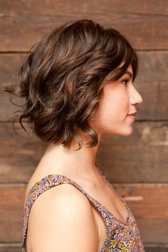 Short, wavy bob. That's probably too short for my thick hair! But cute.