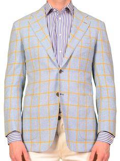 KITON Blue Windowpane Cashmere-Silk-Wool Jacket Sport Coat 38 NEW 48 R8 Slim Fit