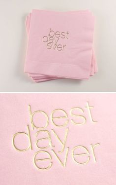 Are you ready for your best day ever? Blush pink and gold 'Best Day Ever' cocktail napkins Blush And Gold, Blush Pink, Purple Gold, Our Wedding, Dream Wedding, Wedding Reception, Wedding Dress, Just In Case, Just For You