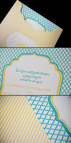 A cheerful customization of our Dawson invitation letterpress printed in ocean and yolk inks is perfect for a wedding with a modern twist.
