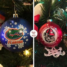 These are our college football glass balls. Our family is divided between the Florida Gators and the Georgia Bulldogs. It gets pretty interesting when the two teams play together once a year!