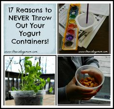 A list of 17 reasons not to throw out your yogurt containers after enjoying their insides. The list could go on and on, but these are my favorite ones for now:) I Love Diy, Recycling Containers, Organization Hacks, Organizing Tips, Cup Crafts, Vintage Mom, Yogurt Cups, Reuse Recycle, Recycled Crafts
