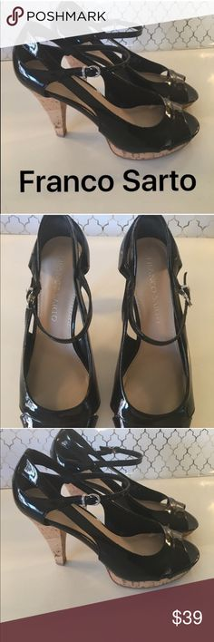 ❤️FRANCO SARTO HEELS 💯AUTHENTIC FRANCO SARTO BLACK AND TAN PATENT HEELS 100% AUTHENTIC STUNNING AND STYLISH . TRUE HIGH END FASHION LOOK. SO PRETTY. THEY ARE A SIZE 7 M Franco Sarto Shoes Heels